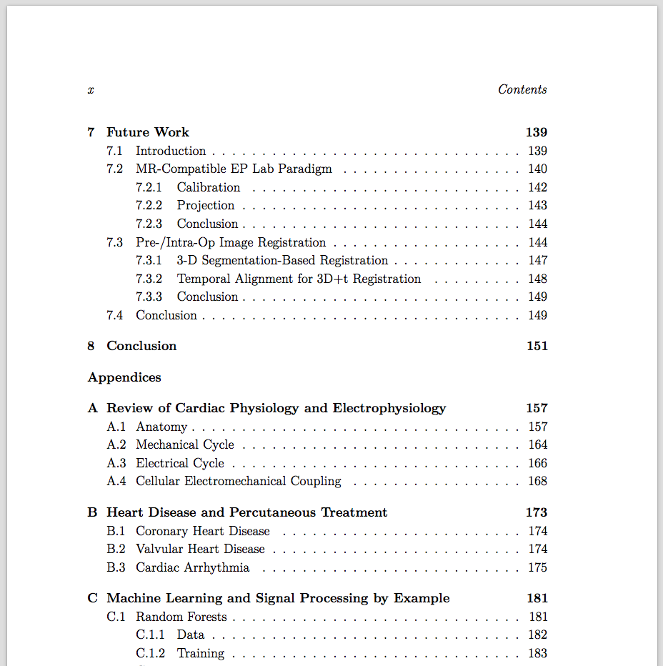 Contents page for dissertation for Table of contents